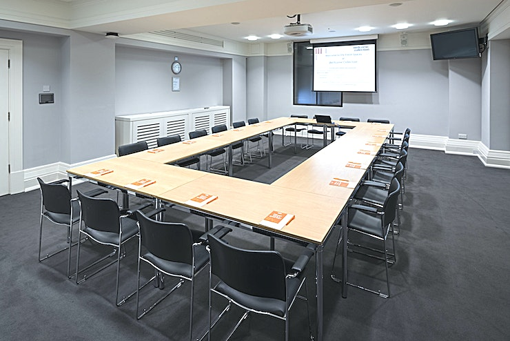 Steel Room **The Steel Room are quiet and airy with natural daylight. You can hire it as alone or add it to Franks rooms for a larger Space.**   The Steel Room is popular for everything from training workshops to product launches.