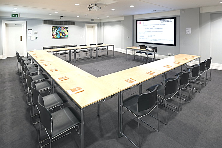 Burroughs Room **The Burroughs Room is spacious and quiet. Named after Henry Wellcome's business partner, philanthropist Silas Burroughs, it's popular for training sessions and receptions.**  Whether you're just getting people together over breakfast or running a day-long workshop, they'll do everything possible to make your event completely trouble-free.