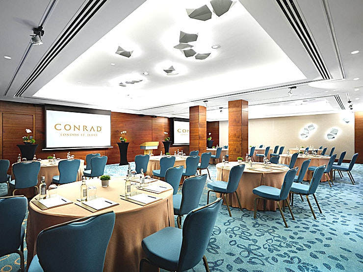 Whitehall 1, 2 & 3 or 2, 3 & 4 **With over 7,000 sq. ft. of elegant meeting space on a dedicated floor, matched with exceptional service and state-of-the-art technology, Conrad London St. James can create outstanding events for up to 300 Guests.**